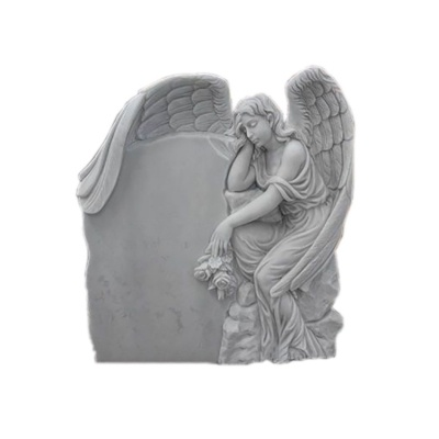 White Marble Angel Headstone
