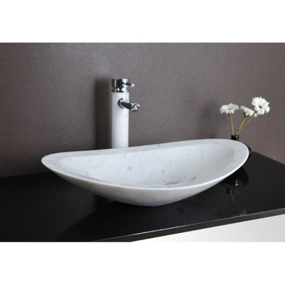 Carrara White Marble Vessel Sink