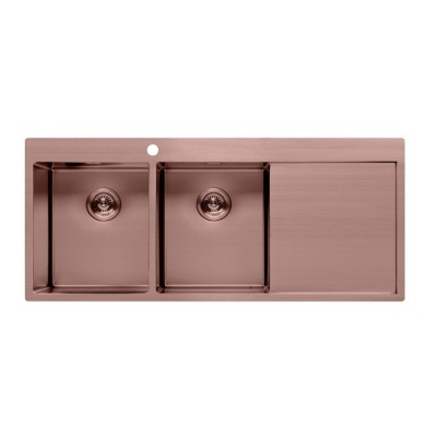 Double bowl rose gold kitchen sink with drainboard